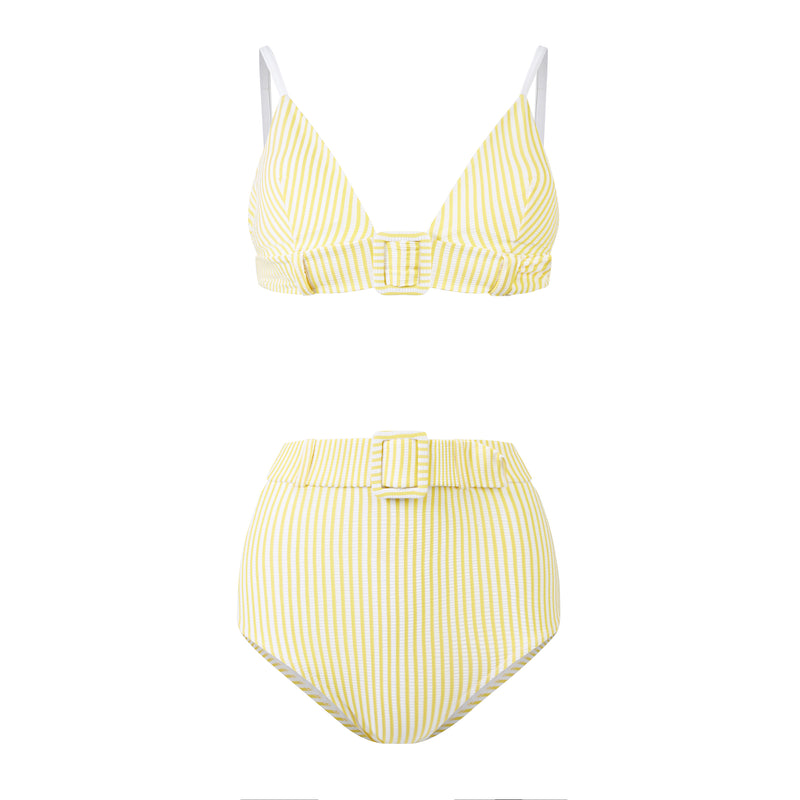 EVARAE Elena Belted High Waist Bikini Bottoms in Citrus Stripe with Sabine Bikini Top Front Product Cut Out