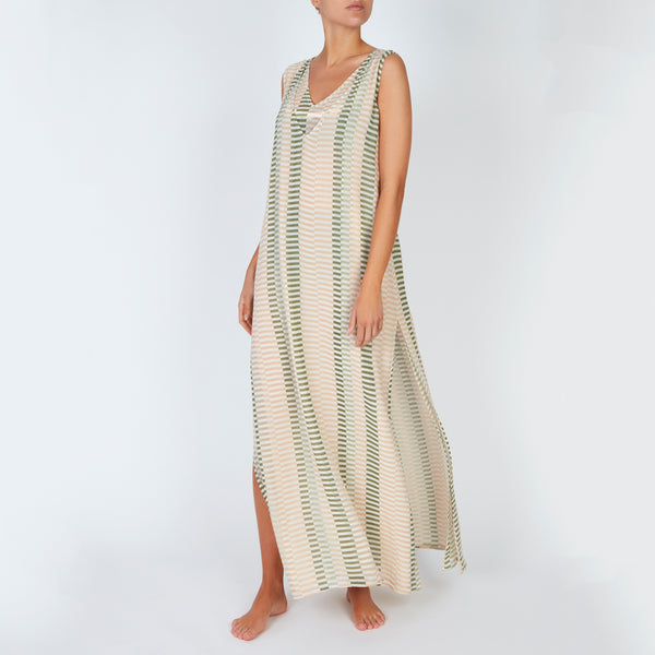 EVARAE Berti Dress in Bird of Happiness Sage Side