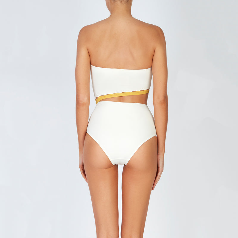 EVARAE Bree Swimsuit Cut Out Strapless Creme Mimosa Back