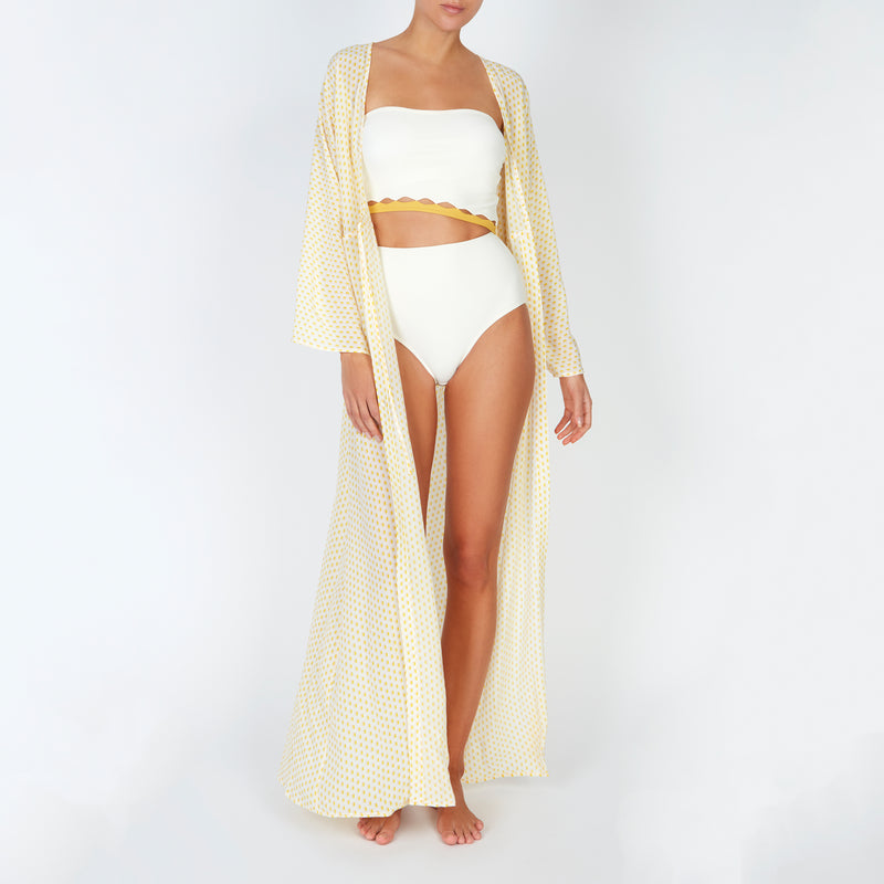 EVARAE Bree Swimsuit Cut Out Strapless Creme Mimosa Front Kimono