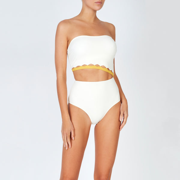 EVARAE Bree Swimsuit Cut Out Strapless Creme Mimosa Front