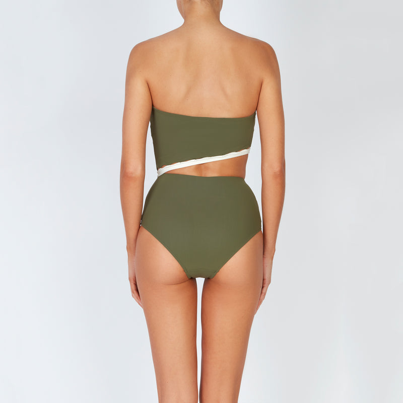 EVARAE Bree Swimsuit Cut Out Strapless  Sage Creme Back