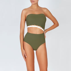 EVARAE Bree Swimsuit Cut Out Strapless  Sage Creme Front