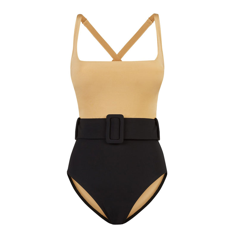 EVARAE Cassandra Swimsuit Square Neck with belt in Nero / Rococco Product Front