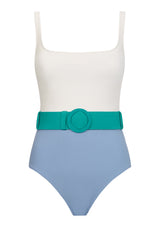 CASSANDRA SWIMSUIT IN ECONYL® - CORNFLOWER BLUE/WHITE WITH EMERALD BELT