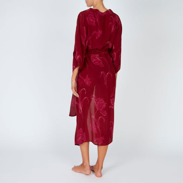 EVARAE Ciona Silk Kimono with Belt in Flower of Joy Berry Back