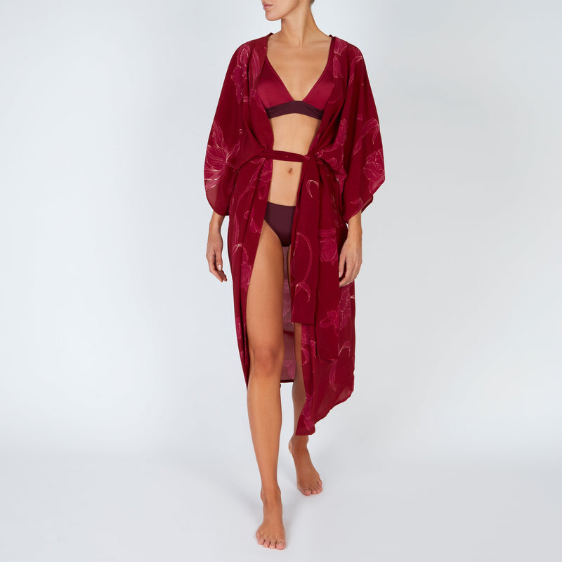 EVARAE Ciona Silk Kimono with Belt in Flower of Joy Berry Belted Front