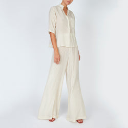 EVARAE Diana Silk Trousers Mini Dot Sage Front