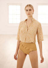 DIANA SHIRT IN ORGANIC SILK - DOTTY SAND