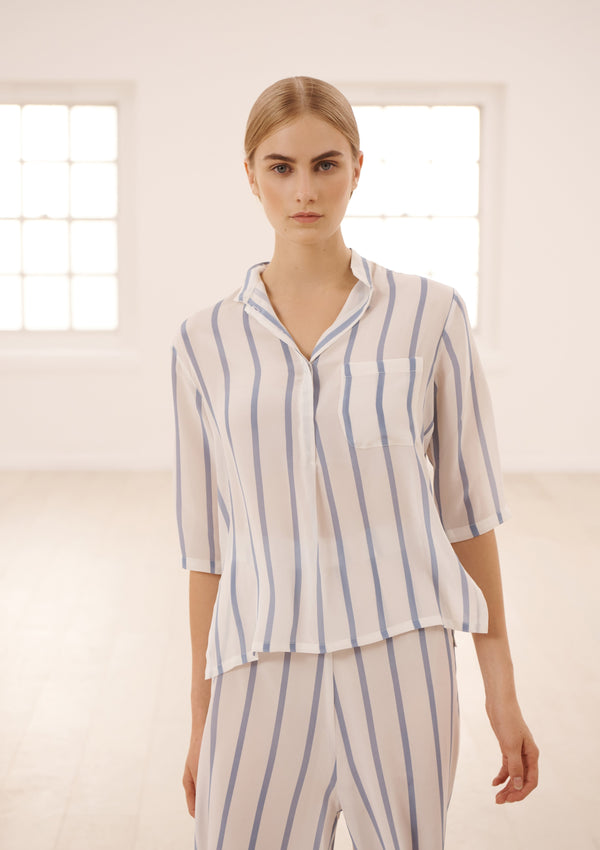 DIANA LOUNGE SHIRT IN CORNFLOWER BLUE/ SOFT WHITE