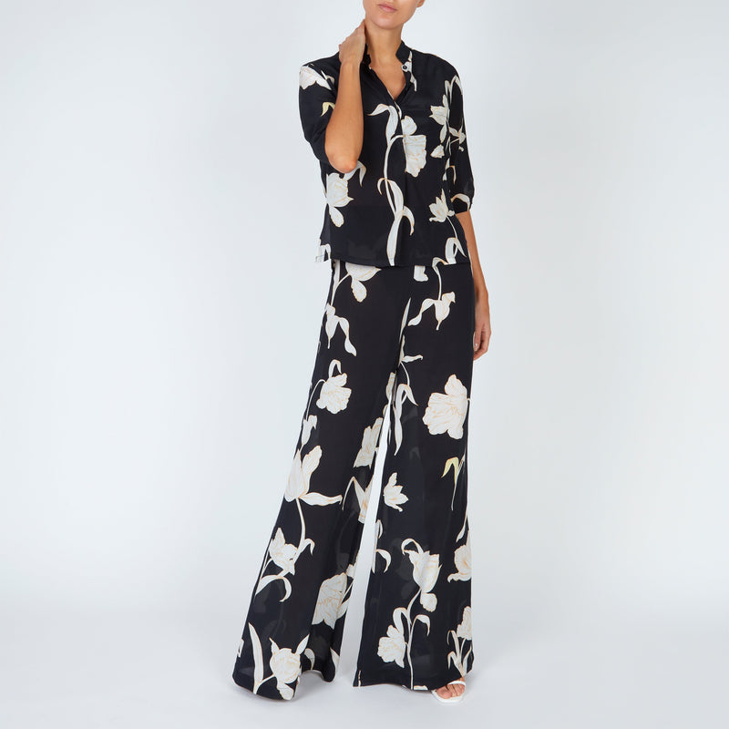EVARAE Diana Silk Shirt in Flower of Joy Nero with Diana Trousers Front