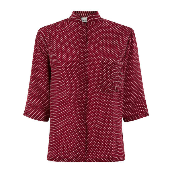EVARAE Diana Silk Shirt in Geo Berry Front Product
