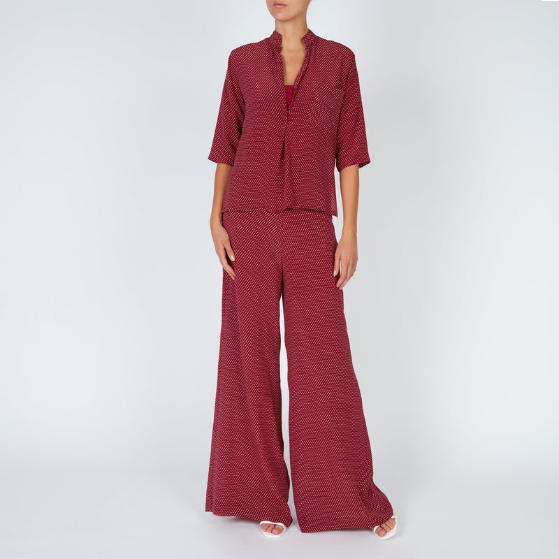 EVARAE Diana Silk Shirt and Diana Palazzo Trousers in Geo Berry Front Model