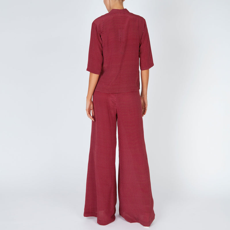 EVARAE Diana Silk Shirt and Diana Palazzo Trousers in Geo Berry Back Model