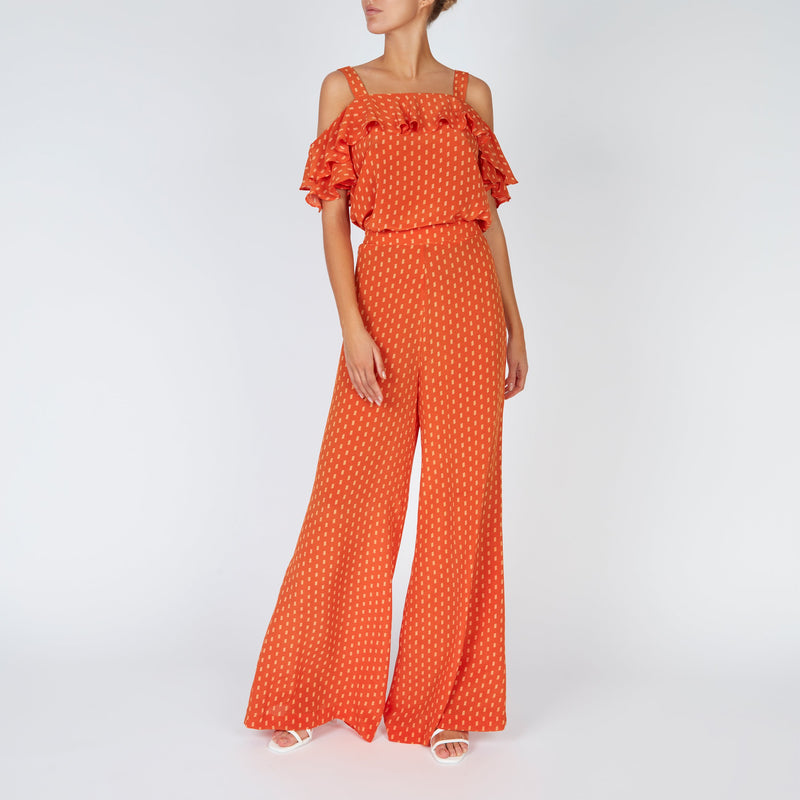 EVARAE Diana Palazzo Wide Silk Trousers and Vali top in Apricot Dot Front