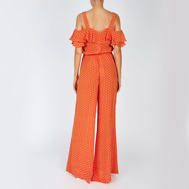EVARAE Diana Palazzo Wide Silk Trousers and Vali top in Apricot Dot Back