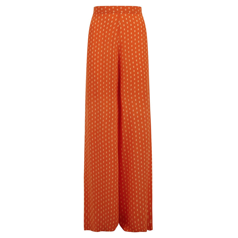 EVARAE Diana Palazzo Wide Silk Trousers in Apricot Dot Product Front