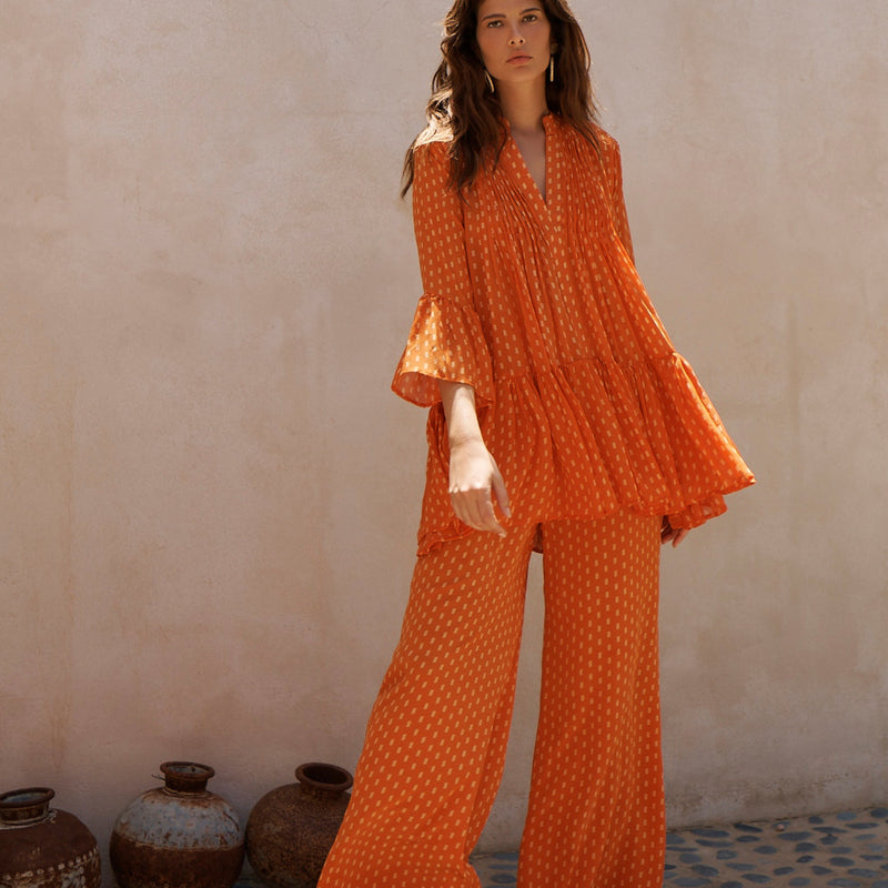 EVARAE Diana Silk Wide Trousers and Loli Pleated Silk Shirt in Apricot Dot Front Model Close Up