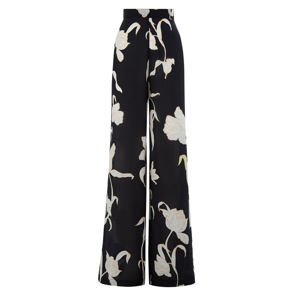 EVARAE Diana Silk Trousers in Flower of Joy Nero Front Product