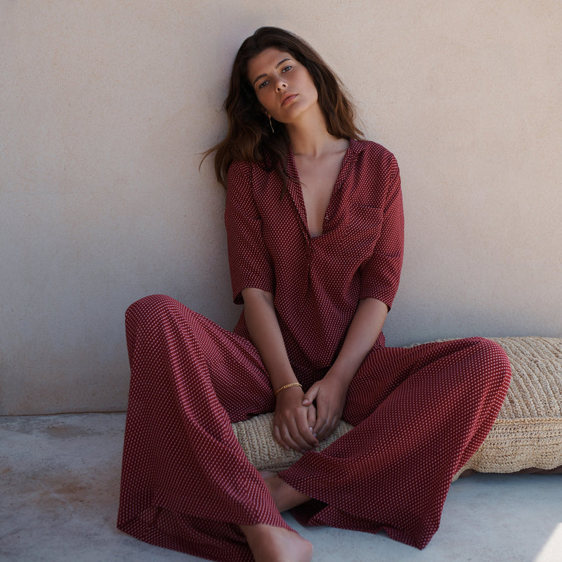 EVARAE Diana Silk Wide Leg Trousers & Diana Shirt in Geo Berry Resort Wear Model