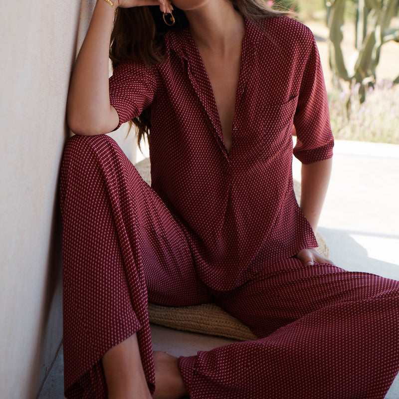 EVARAE Diana Silk Wide Leg Trousers & Diana Shirt in Geo Berry Resort Wear Model Detail