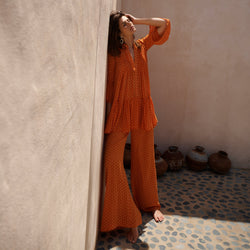 EVARAE Diana Silk Wide Trousers and Loli Pleated Silk Shirt in Apricot Dot Front Model