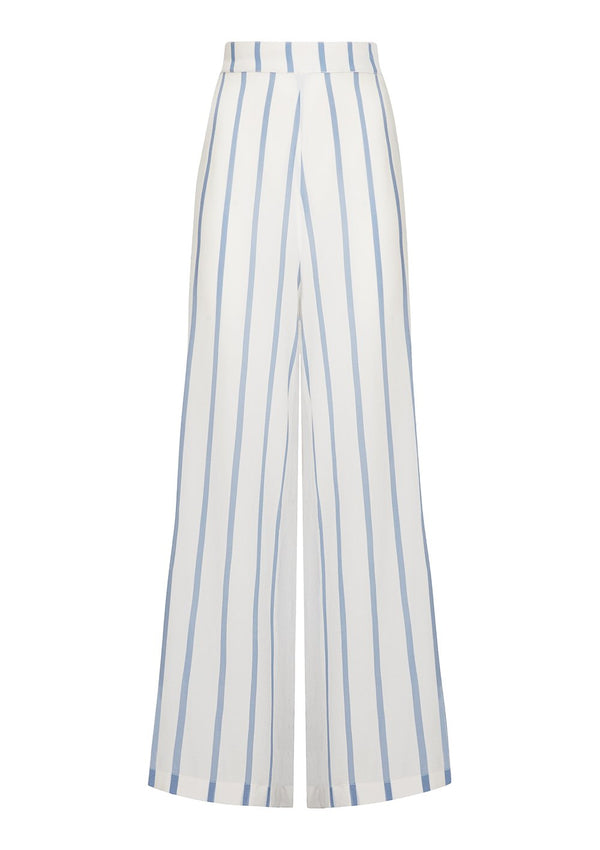 DIANA LOUNGE PANT IN ORGANIC SILK - SOFT WHITE/BLUE STRIPE
