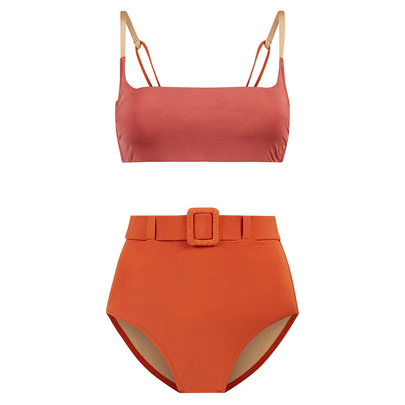 EVARAE Elena Belted High Waist Bikini Bottoms in Ice Tea & Regan Top in Mars Sustainable Swimwear Product