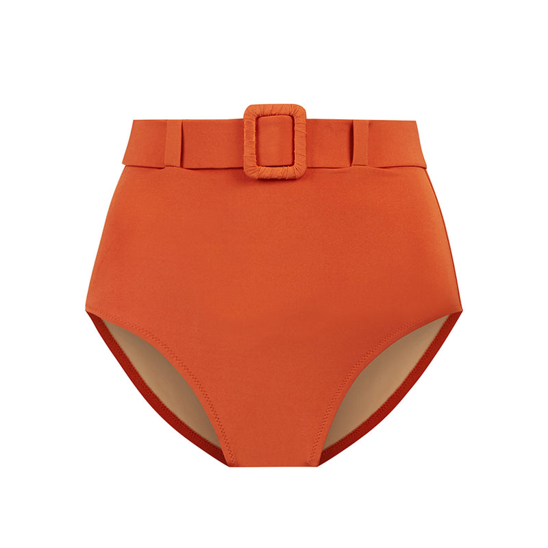 EVARAE Elena Belted High Waist Bikini Bottoms in Ice Tea Mars Sustainable Swimwear Cut Out Product