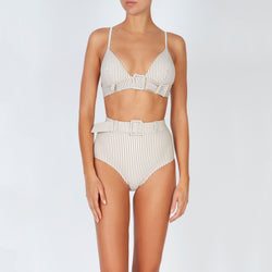 EVARAE Elena Belted High Waist Bikini Bottoms in Ice Mocha Stripe with Sabine Bikini Top Front