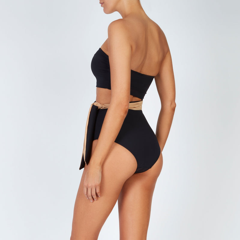 EVARAE Elsa Swimsuit Cut Out Waist Tie Strapless Nero Back Side Model