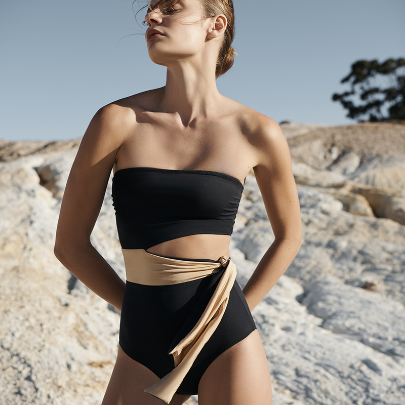 EVARAE Elsa Swimsuit Cut Out Waist Tie Strapless Nero Front Detail