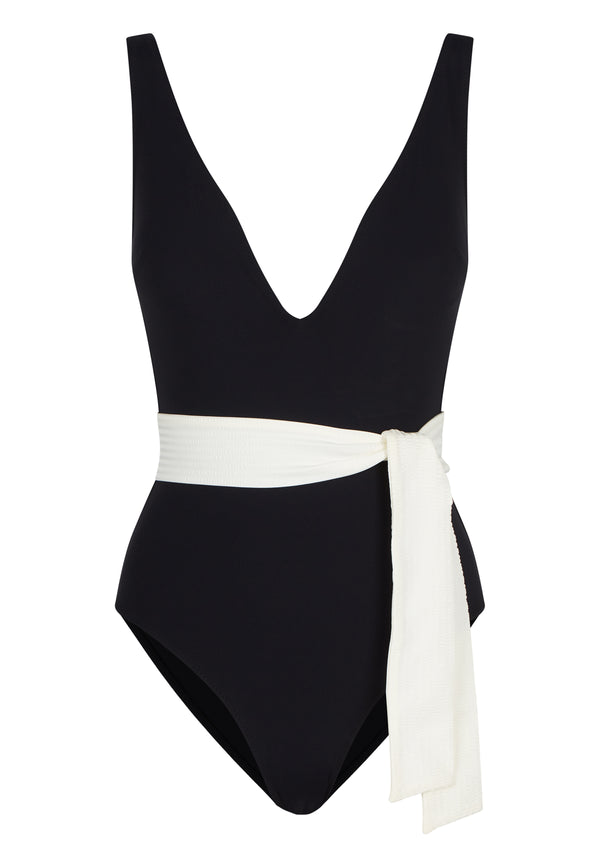 FREDA SWIMSUIT IN ECONYL® - NERO /CREME