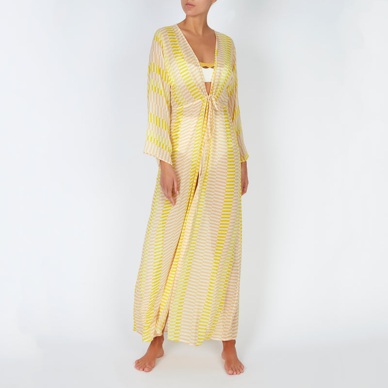 EVARAE Gela Silk Kimono Floor Length Geometric Sunray Yellow Front Tied