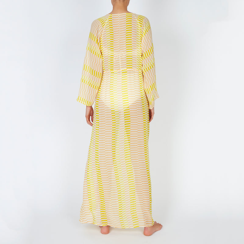EVARAE Gela Silk Kimono Floor Length Geometric Sunray Yellow Stripe Back