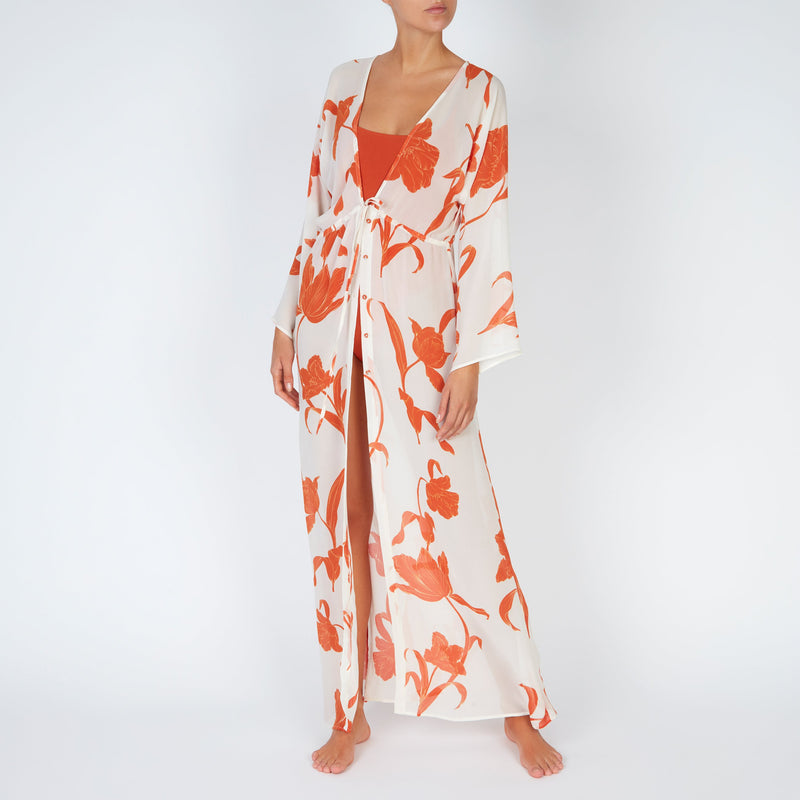 EVARAE Gela Kimono Maxi Long Sleeves Silk Flower of Joy in Apricot Resort Front
