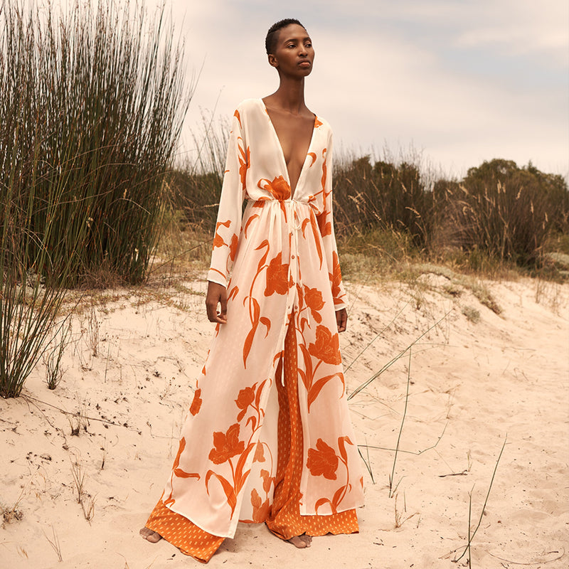 EVARAE Gela Kimono Maxi Long Sleeves Silk Flower of Joy in Apricot Resort Ethical Model Front