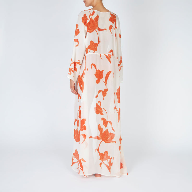 EVARAE Gela Kimono Maxi Long Sleeves Silk Flower of Joy in Apricot Resort Ethical Back