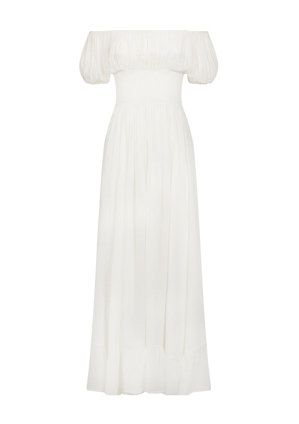 HESTIA DRESS IN ORGANIC SILK - SOFT WHITE