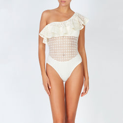 EVARAE Irene Laser Cut swimsuit with Ruffle Shoulder Ivory Cream Sustainable Swimwear Front