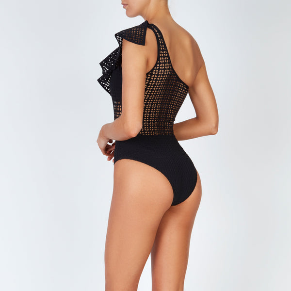 EVARAE Irene Laser Cut swimsuit with Ruffle Shoulder Nero Black Sustainable Swimwear Side Back