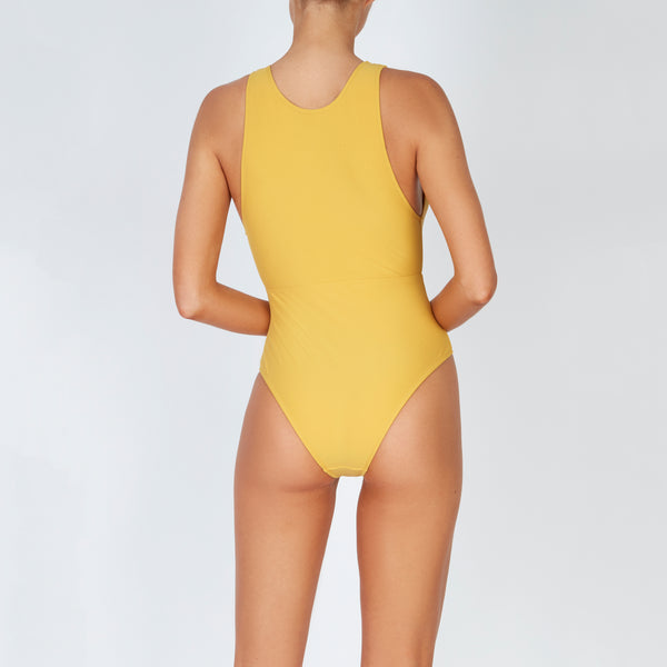 EVARAE Itea Swimsuit V Plunge Cut Out Diamond Detail High Back Mimosa Cream Sustainable Silky fabric Back