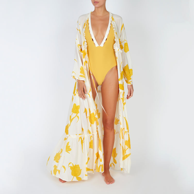 EVARAE Itea Swimsuit V Plunge Cut Out Diamond Detail High Back Mimosa Cream Sustainable Silky fabric Front with Talia Kimono
