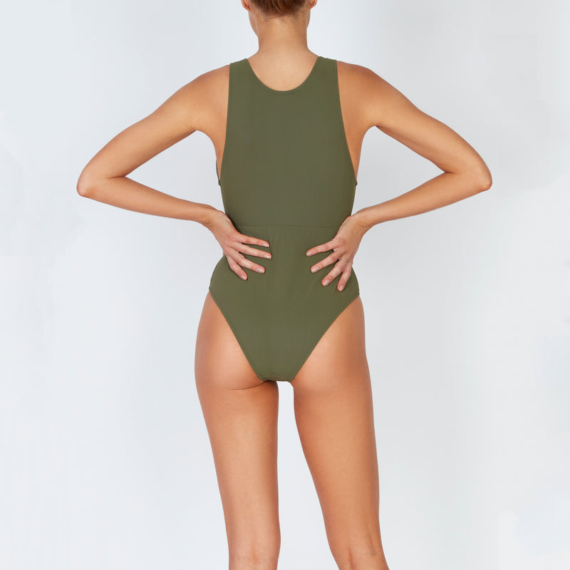 EVARAE Itea Swimsuit V Plunge Cut Out Diamond Detail High Back Sage Cream Sustainable Silky fabric Back