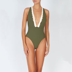 EVARAE Itea Swimsuit V Plunge Cut Out Diamond Detail High Back Sage Cream Sustainable Silky fabric Front