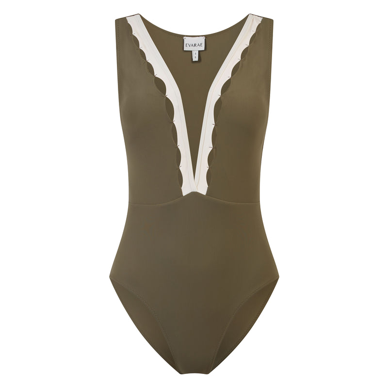 EVARAE Itea Swimsuit V Plunge Cut Out Diamond Detail High Back Sage Cream Sustainable Silky fabric Product
