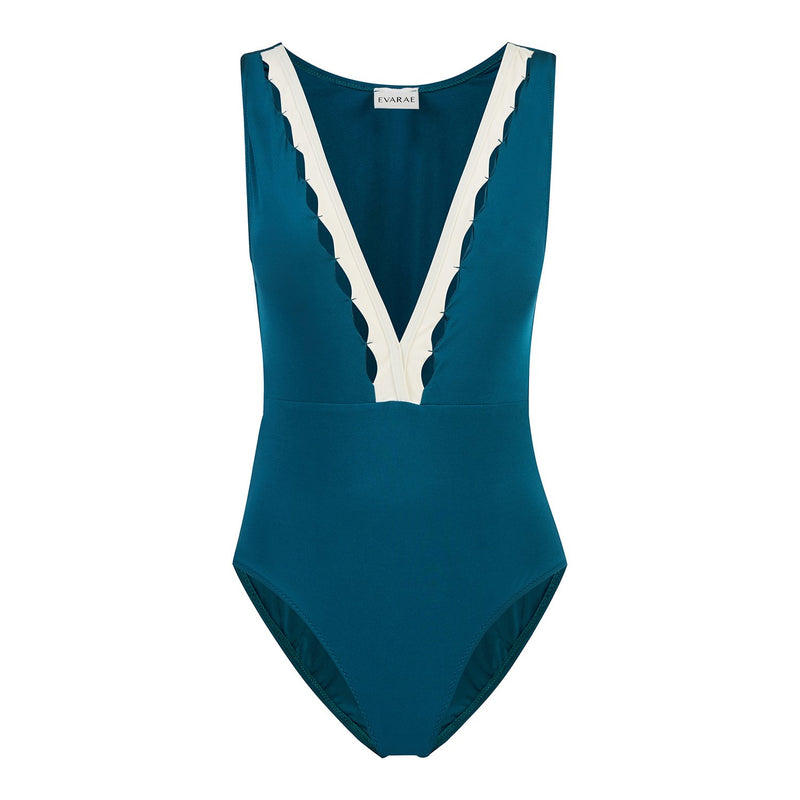 EVARAE Itea Swimsuit V Plunge Cut Out Diamond Detail High Back Blu Tropico Cream Sustainable Silky fabric Product
