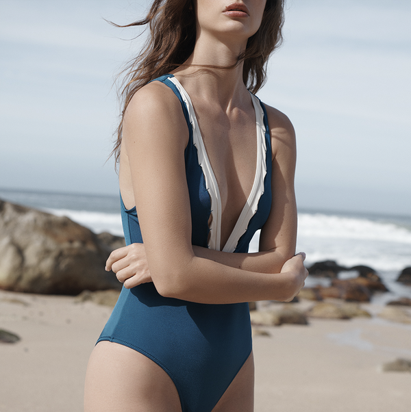 EVARAE Itea Swimsuit V Plunge Cut Out Diamond Detail High Back Blu Tropico Cream Sustainable Silky fabric Front