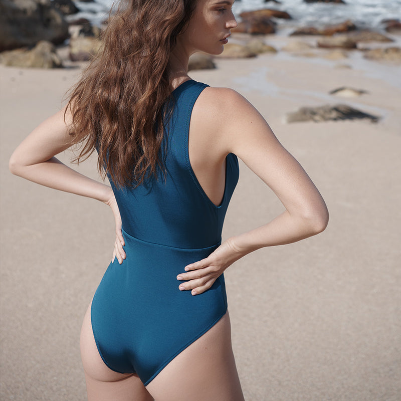 EVARAE Itea Swimsuit V Plunge Cut Out Diamond Detail High Back Blu Tropico Cream Sustainable Silky fabric Back