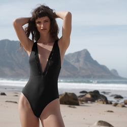 EVARAE Itea Swimsuit V Plunge Cut Out Diamond Detail High Back Nero Black Sustainable Silky fabric Front